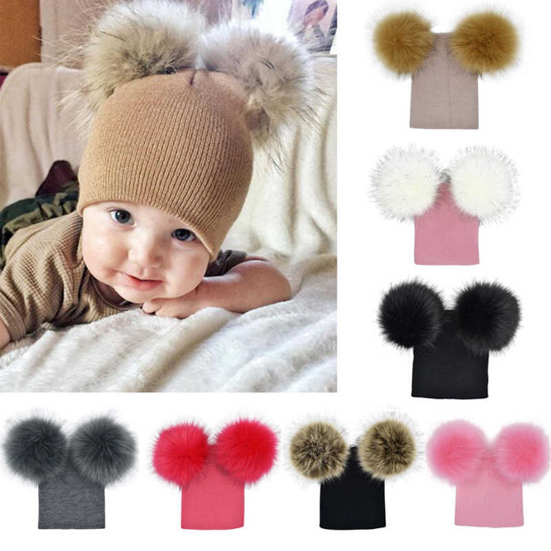 59a3be1348b Fashion Baby Kids Winter Hat Wool Knitted Warm Double Faux Fur Pompom  Beanies Cap Cute Child