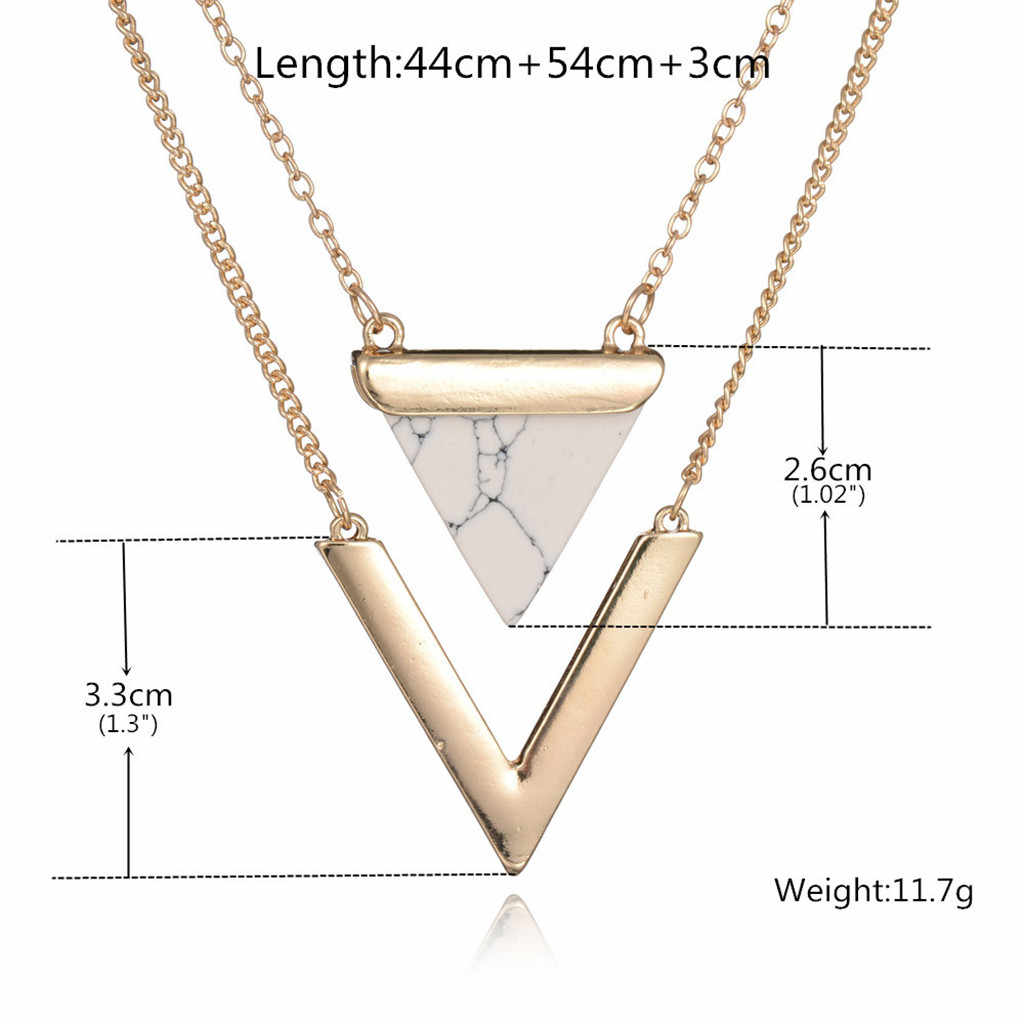 Turquoise Pendant women Necklace V-Shaped Double Multi-Layer Clavicle Chain collar mujer