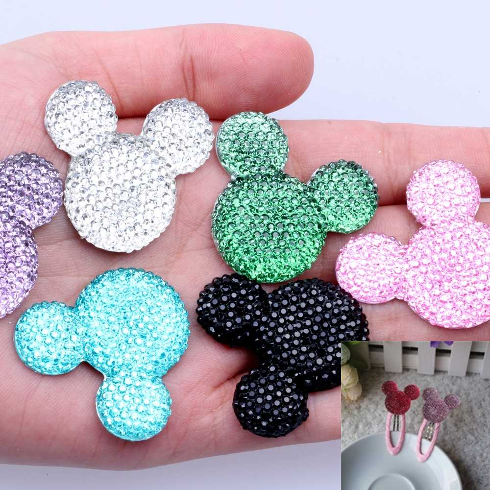 100pcs/lot 30x35mm Mickey Head Many Colors Resin Rhinestone Flatback Cabochon DIY Crafts Scrapbooking Jewelry Making Decorations
