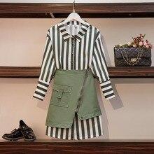 HAMALIEL, весенний комплект из 2 предметов, платье размера плюс, зеленая полосатая длинная рубашка, женские костюмы+ нестандартная мини-юбка с карманами на молнии