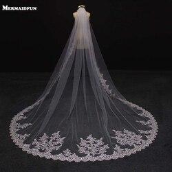 Новинка, 3 метра, один слой, кружевная кромка, красивая Длинная свадебная вуаль для собора, 3 м, вуаль для невесты