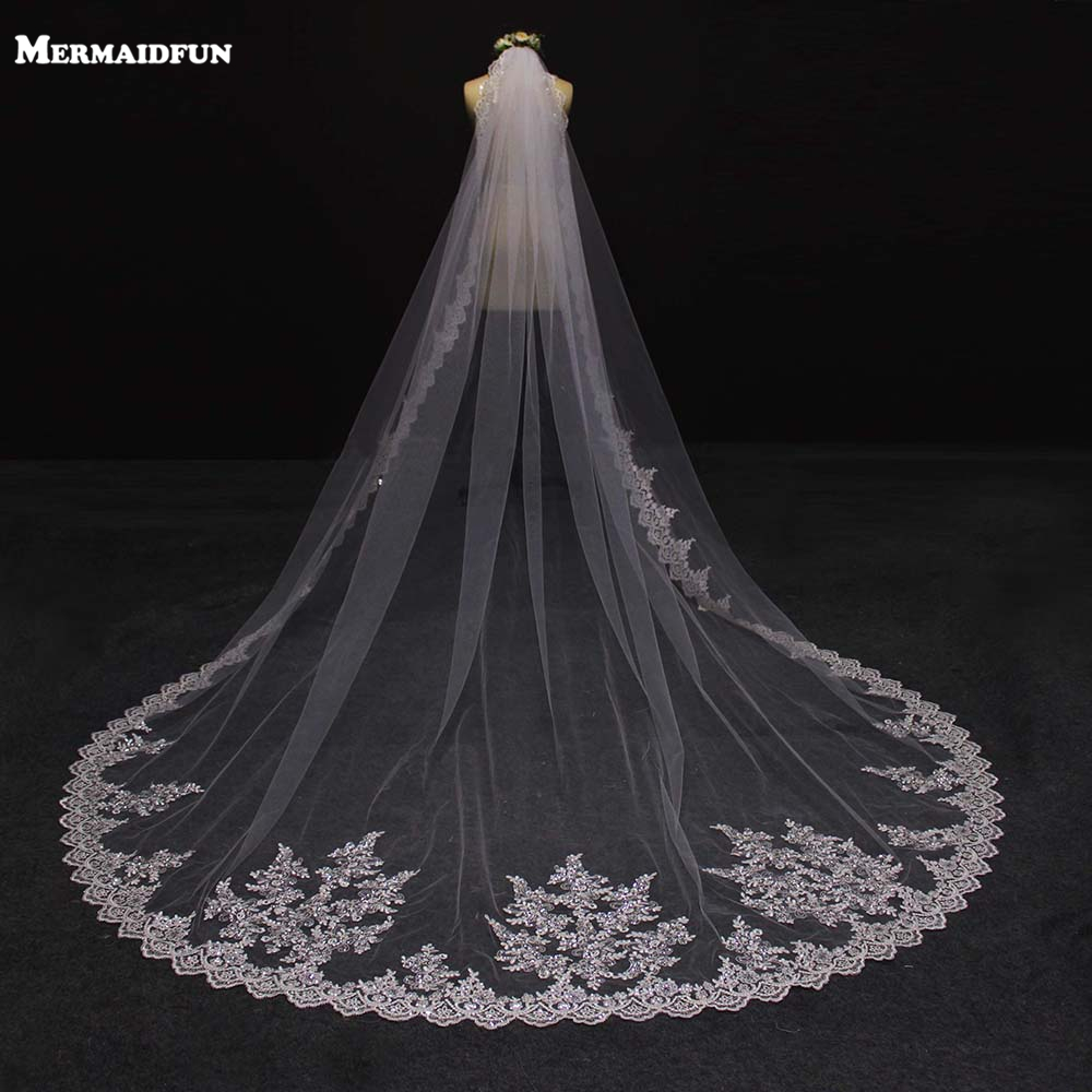 2019 New 3 Metra Një Layer Dantella Edge Beautiful Long Long Cathedral Cat Wedding, Veil 3 M Bridal Veile Voile Mariage