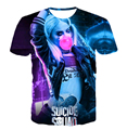 2016 летняя мода новый Короткий рукав Suicide squad 3D печати футболка Harley Quinn джокер Американский анимационный Смешно случайные футболки