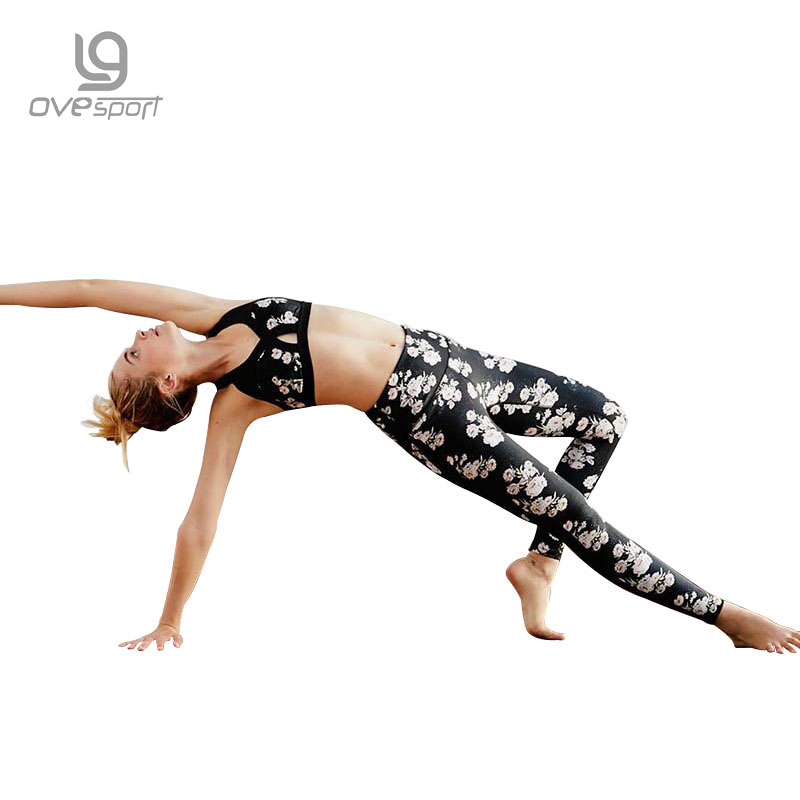 OVESPORT High Elastic Women Sports Leggings Fitness Mesh Patchwork 3D Printed Yoga Pants Workout Breathable Running