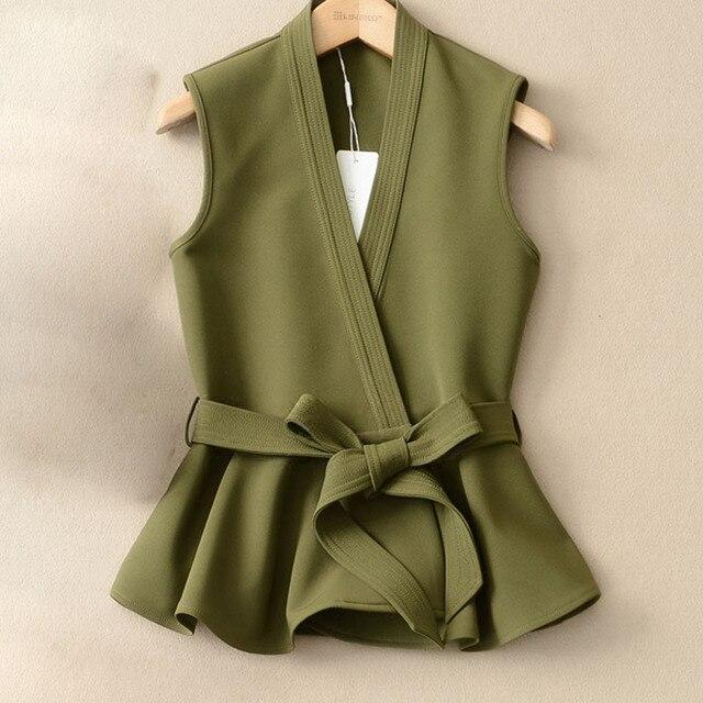 Autumn Vest Lace Up Ruffles Slim Sleeveless Plus Size Waistcoat 1