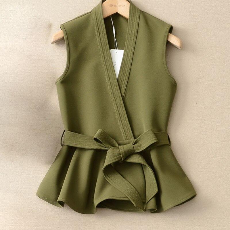 CHICEVER 2017 Autumn Waistcoat For Women Female Vest Lace Up Ruffles Slim Coats Sleeveless Plus Size Vest Coat Fashion Korean