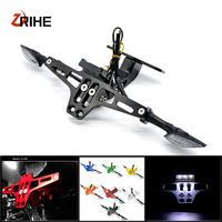 Motorcycle Accessories CNC Rear License Plate Mount Holder with LED Light For Yamaha YZF R1/R125/R15/R1M/R25/R3/R6