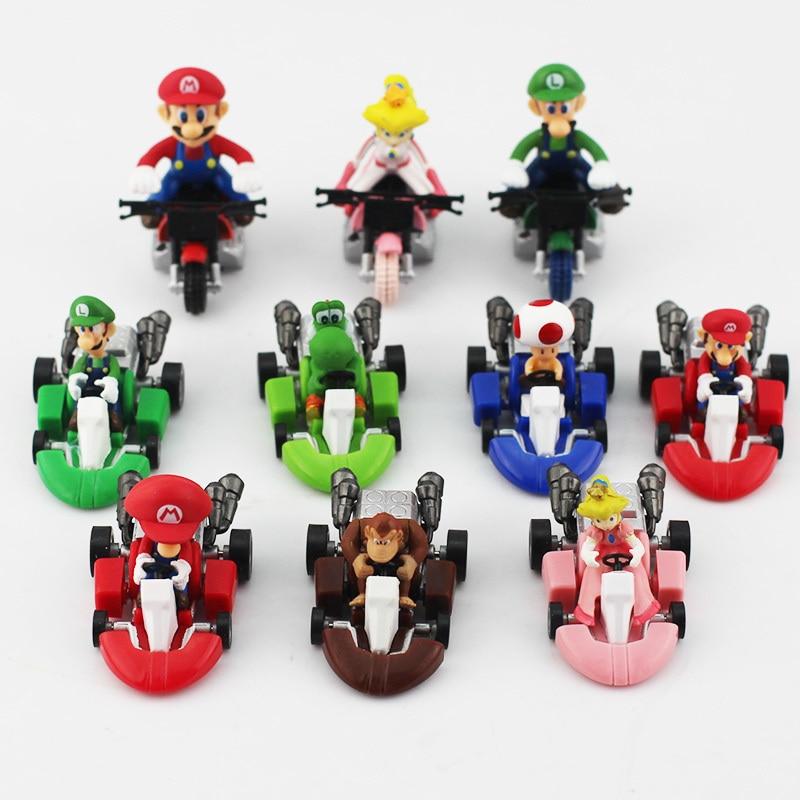 Image 2 - 10 unids/lote Super Mario Bros Kart coche de tirón de atrás Mario Lugi Yoshi seta de sapo princesa durazno Donkey Kong figura de juguete-in Figuras de juguete y acción from Juguetes y pasatiempos on AliExpress