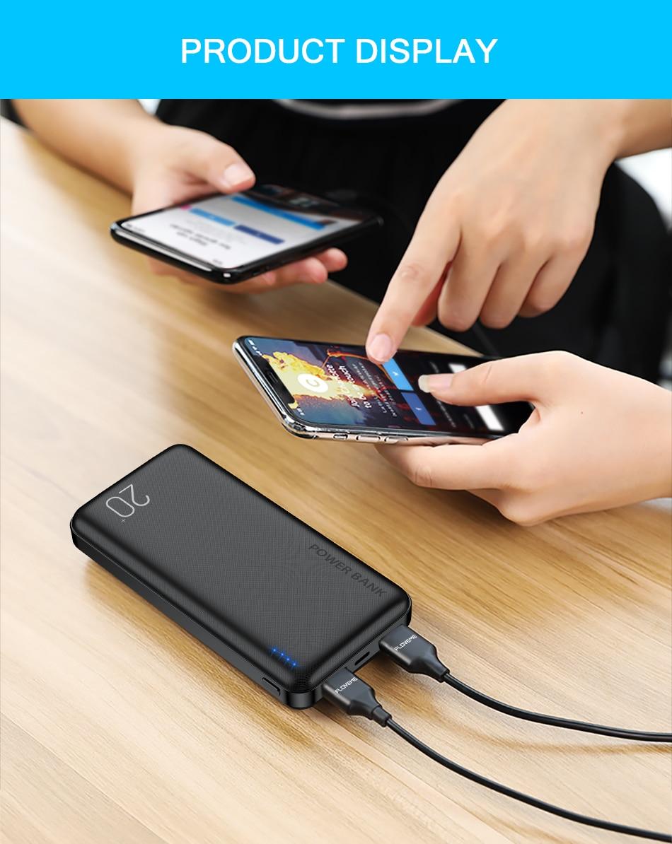 FLOVEME Power Bank 20000mAh Portable Charging Poverbank Mobile Phone External Battery Charger Powerbank 000 mAh for Xiaomi Mi 9