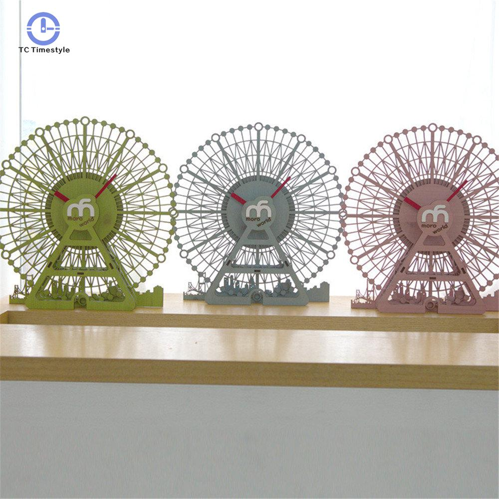 Silently Wall Clock For Children Home Decor  Cartoon Pine Wood Wall Clocks Unique Exquisite Vogue Ferris Wheel Style