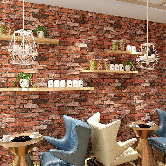 Red Brick Wallpaper For Walls Roll Clothing Store Restaurant Retro Pvc Imitation Brick Stone