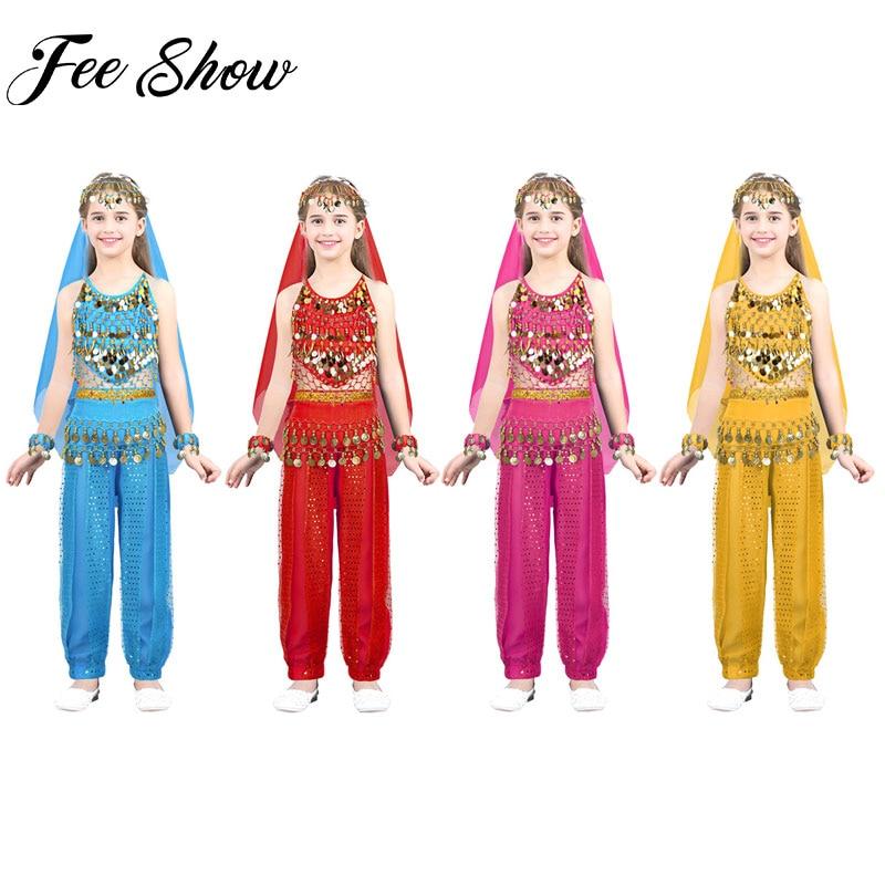 Kids Girls Belly Dancing Costumes Set Children Dance Performance Clothes Kid Dancewear Indian Dancing Belly Dance Suits