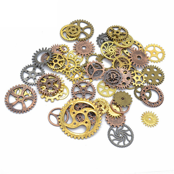 7 50glot Different Size Gears DIY Jewelry Accessories For Necklace Earring Pendant Bracelet Gold Silver Gear Diy Jewelry Making
