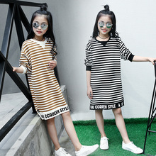 Kids Cotton Striped T Shirt Spring Autumn Long Sleeve T-shirt Dresses Clothes for Teenage Girls 5 6 8 9 10 11 12 13 14 Years Old