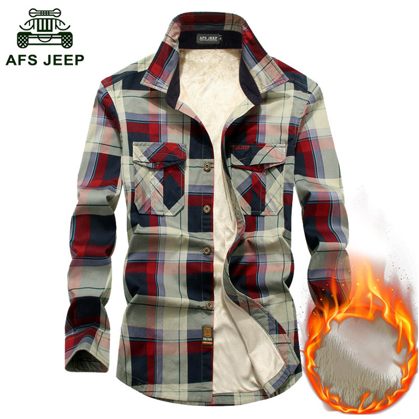 AFS JEEP Autumn Winter Warm Shirt Men Long Sleeve Thick Fleece Plaid Mens Shirts Causal Cotton Chemise Homme Plus Size 4XL Shirt