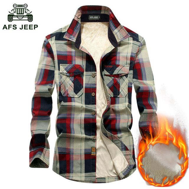efc67943183 AFS JEEP Autumn Winter Warm Shirt Men Long Sleeve Thick Fleece Plaid Mens  Shirts Causal Cotton