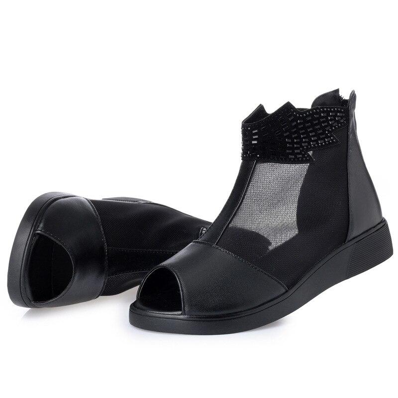 Poisson Sandales Cuir En Plat Chaussures 2018 Élégant Vache Femmes Bouche Nouveau Grande Taille Confortable Maillage Noir Bottes D'été XkZiuP