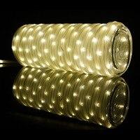 Tube חבל 10 M 136 נוריות מנורת חשמל סולארי פיות Led מחרוזת האור חיצוני מסיבת חג מולד אור גינה האיחוד האירופי ארה