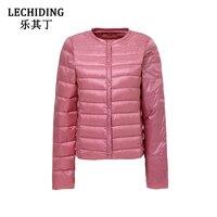 LECHIDING 2017 Autumn Winter Ultra Light Down Jacket Women Plus Size Duck Down Coats Round Neck