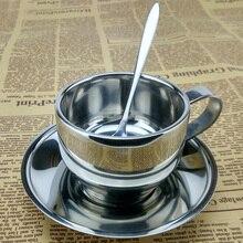 Классический шт набор классический серебристый цвет кофейный набор 304 из нержавеющей стали высокого качества с двойными стенками, кофейная чашка набор