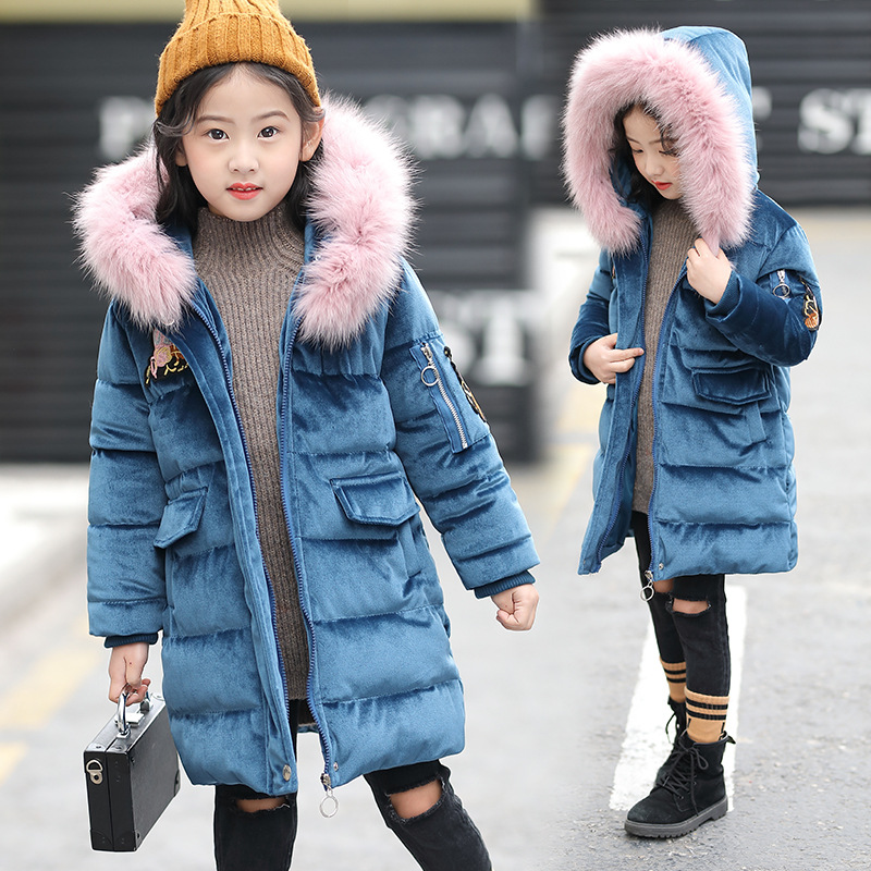 Winter New Kids Girls Down Jacket Fur Collar Hooded Cotton-padded Thicken Coat Long Parkas Children Fashion Overcoat Outerwear 2017 new fashion girls winter warm coat kids jacket hooded snow wear cotton down outerwear girl solid color winter clothes