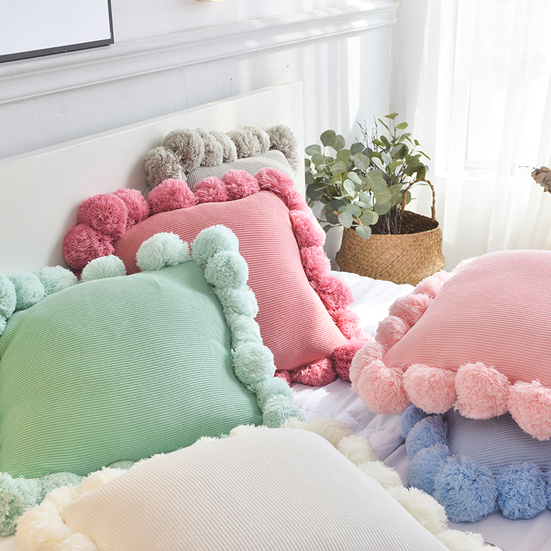 Pompom Knit Cushion Cover Solid Ivory Grey Pink Ivory Green Solid Pillow Case 45*45cm Soft For Sofa Bed Nursery Room Decorative