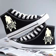 Fashion Justin Bieber Canvas Shoes Glow in the Dark Purpose Men Womens Teenagers Casual Hand Painted Graffiti