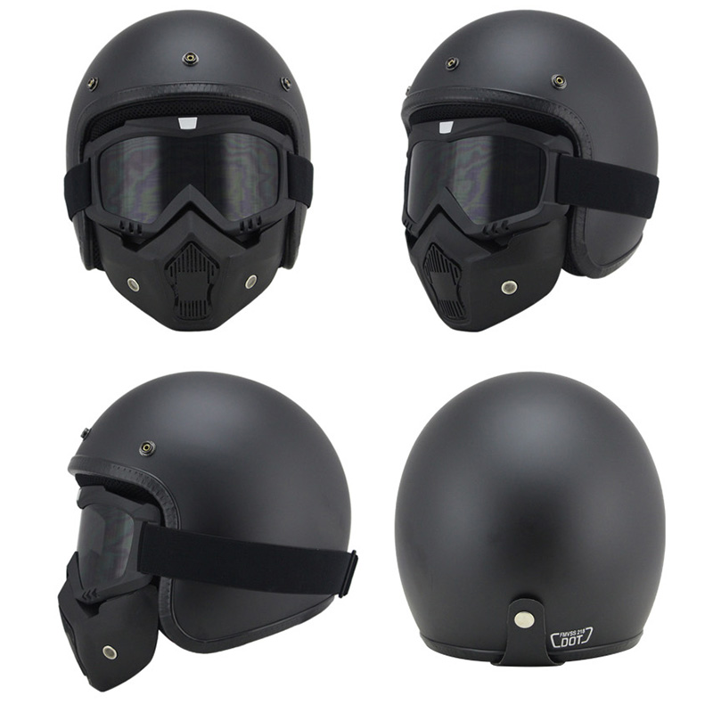 Motorcycle scooter MTB ATV Dirt bike 3 4 Helmets With Skull Cool Goggles Personalized vintage for