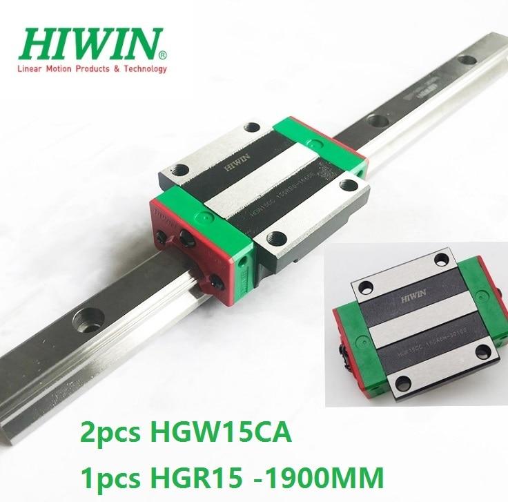 1pcs 100% original Hiwin linear rail guide HGR15 -L 1900mm + 2pcs HGW15CA HGW15CC linear flange Block carriage cnc router цена