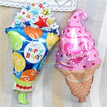 Wholesale colorful mini ice cream balloon 100pcs/lot lovely with star sweet valentine foil globo HAPPY B-DAY decoration ballon