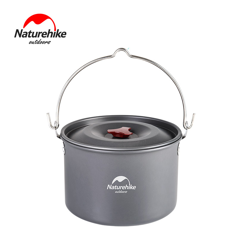 NatureHike Camping Campfire Pot Outdoor Portable Picnic Cooking Hanging Pot 4*6 Person 4L laptop backpack men waterproof oxford bag pack for men casual school bag for teenage green backbag usb charge travel schoolbag