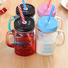 Фотография Creative Gradient 4 Colors Glass Juice Beverage Breath Tape Cover Pore Water Cup Glass Christmas Gift Milk Juice Drink Cup