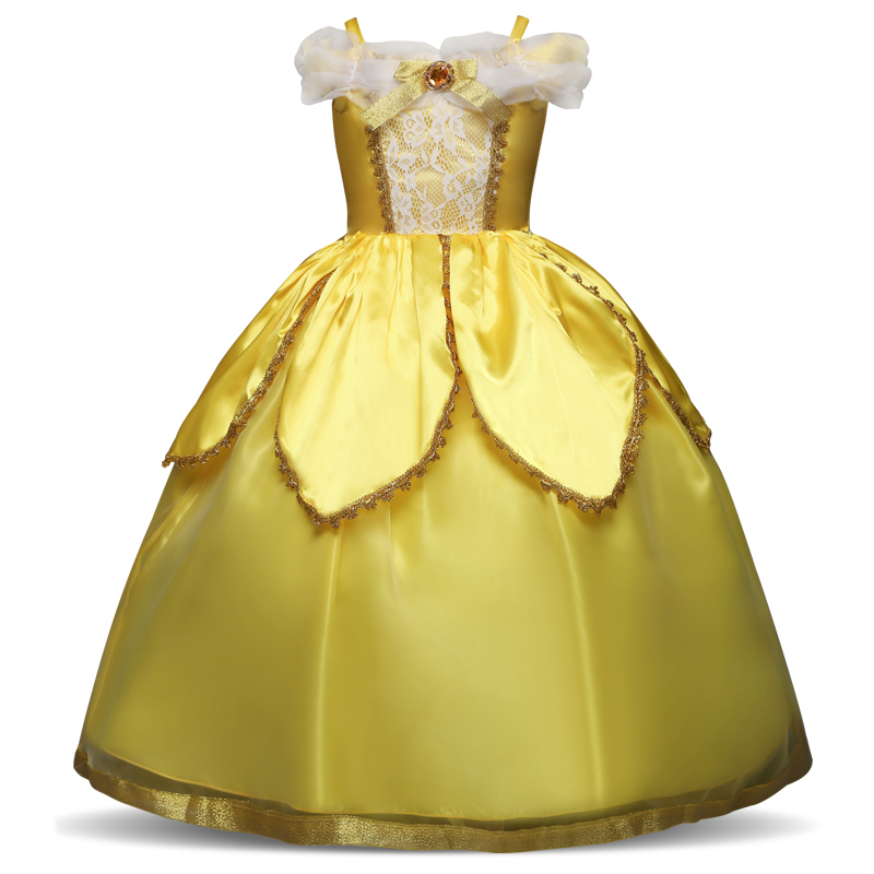 Fancy Princess Girl Belle role-play Costume Kids Cinderella Dress up Girls Halloween Carnival Rapunzel Ball Gown Fantasia Menina purple bowknot medieval dress renaissance gown sissi princess costume victorian gothic marie antoinette colonial belle ball