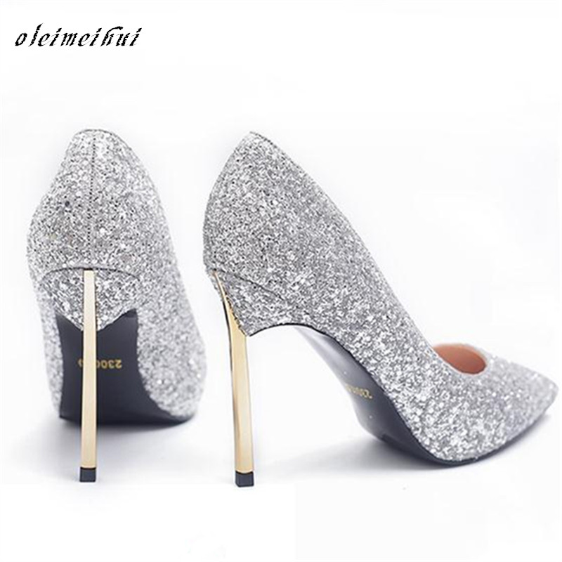 HOT Fashion Pointed toe bridal shoes rhinestone high-heeled shoes diamond thin heels wedding Party Prom Shoes Women Spring Pumps 2017 spring fashion 9 cm pointed toe high heeled shoes metal pearl decoration thin heels patent leather wedding party shoes