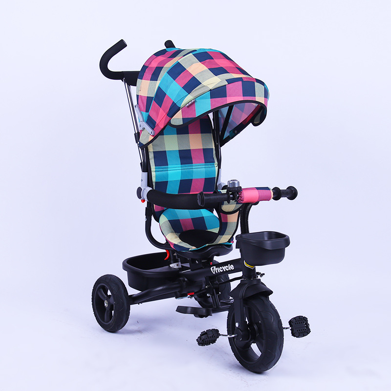 Convertible Push Handle Swivel Seat Children Tricycle Steering Foldable Baby Tricycle Stroller Umbrella Car Baby Bicycle Trike smart trike safari touch steering 2014