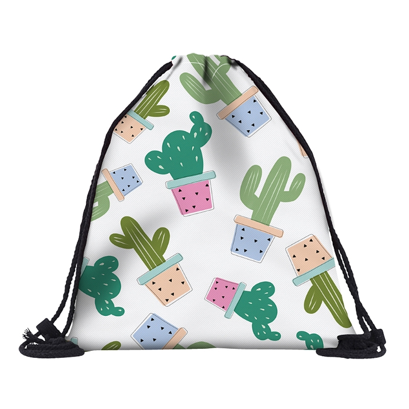Cacti Kaktusy 3D Printed Cordon Bags For School Travel Backpacks DX35780