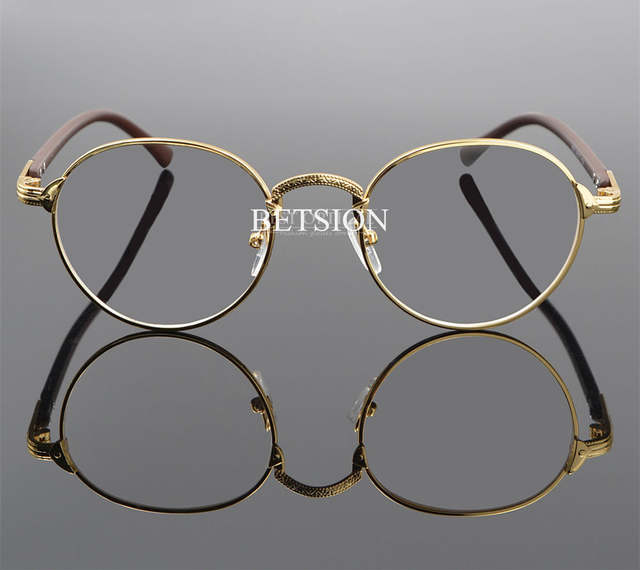 f10a170b4a placeholder BETSION Vintage Oval Gold Eyeglass Frame Man Women Plain  Glasses Clear Full-Rim Spectacles
