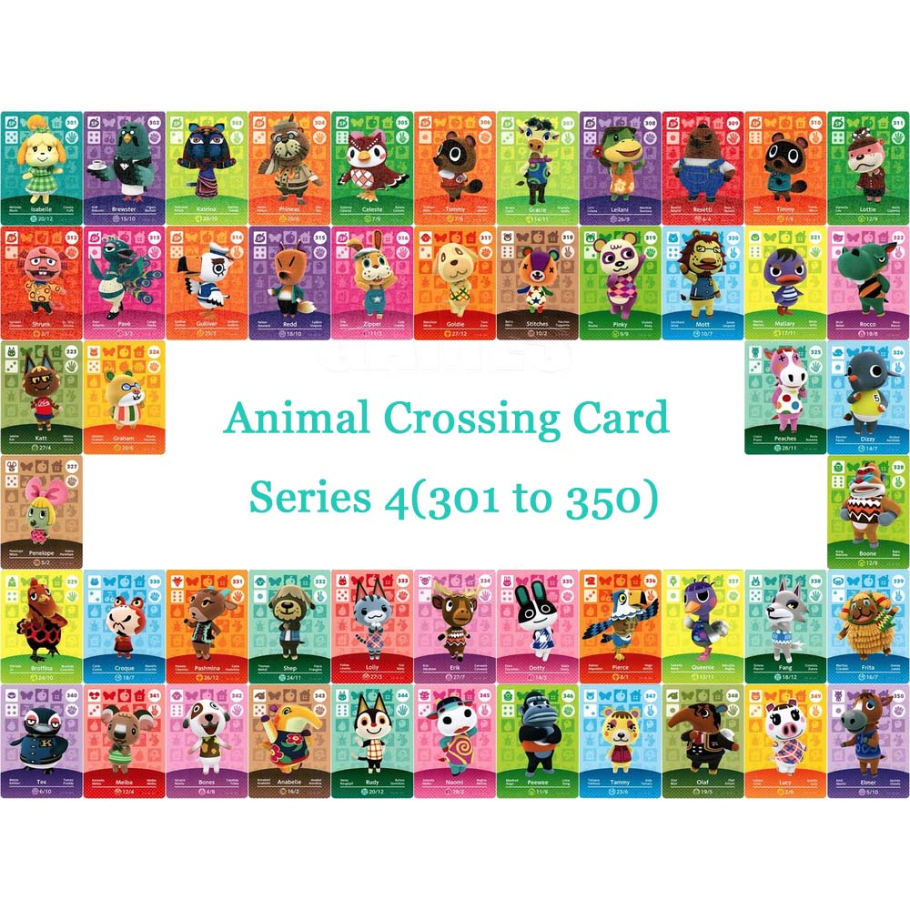 Animal Crossing Card NTAG215 Printed NFC Card Compatible Series 4 (301 To 350) Pick From The List