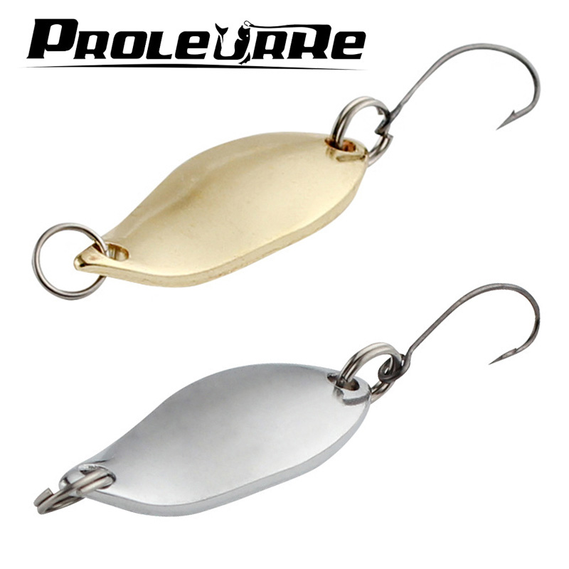 2Pcs 5g Trout Spoons Brass Fishing Spoons Pesca Micro Metal Lures Area Trout Fishing Ultralight Fishing Tackle Gold Silver Color