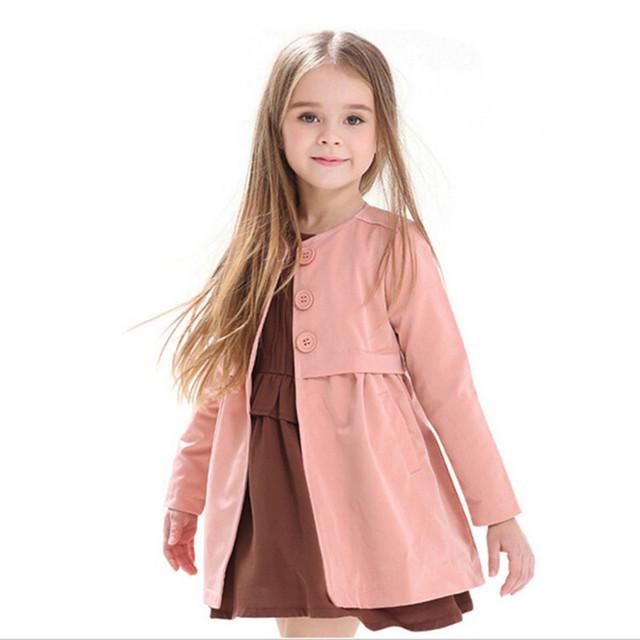 Chaqueta de las muchachas de los niños ropa de niños primavera y otoño niño bebé medio-largo niña prendas de vestir exteriores trinchera abrigo
