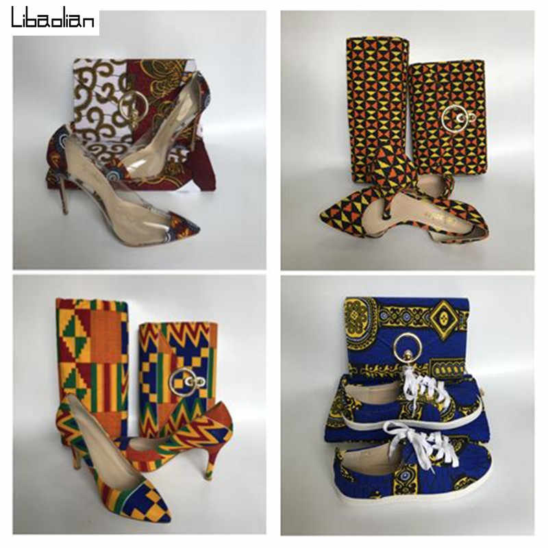African cotton wax Print 6yards with Purse bag and soft lady shoes fashion designer ,hot selling wax fabric shoes sets 94-26
