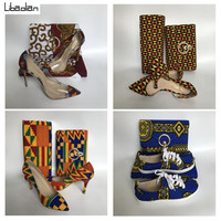 African hollandias wax Print 6yards with Purse bag and soft lady shoes fashion designer ,hot selling wax fabric shoes sets 94 26