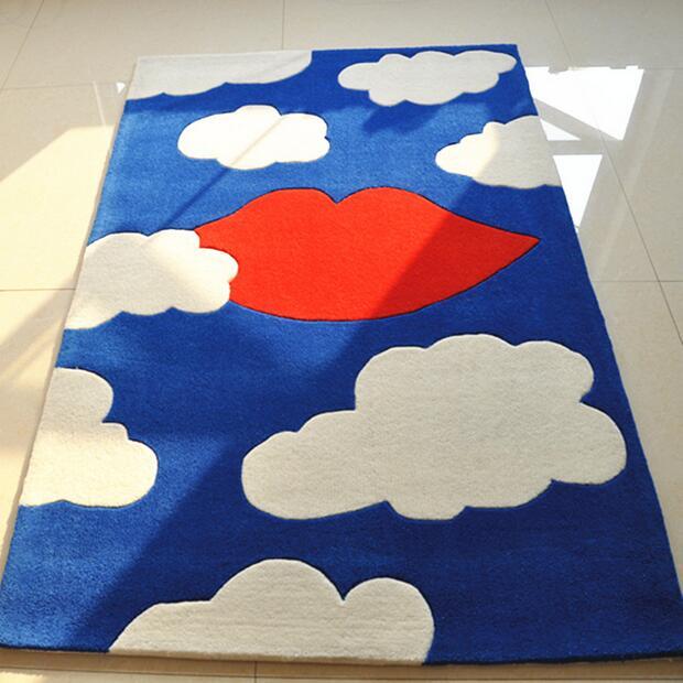 Canapé chambre table à thé Tapis enfants Tapis d'étude dessin animé nuages blancs fabrication manuelle Tapis Tapis Alfombras Tapete Tapis
