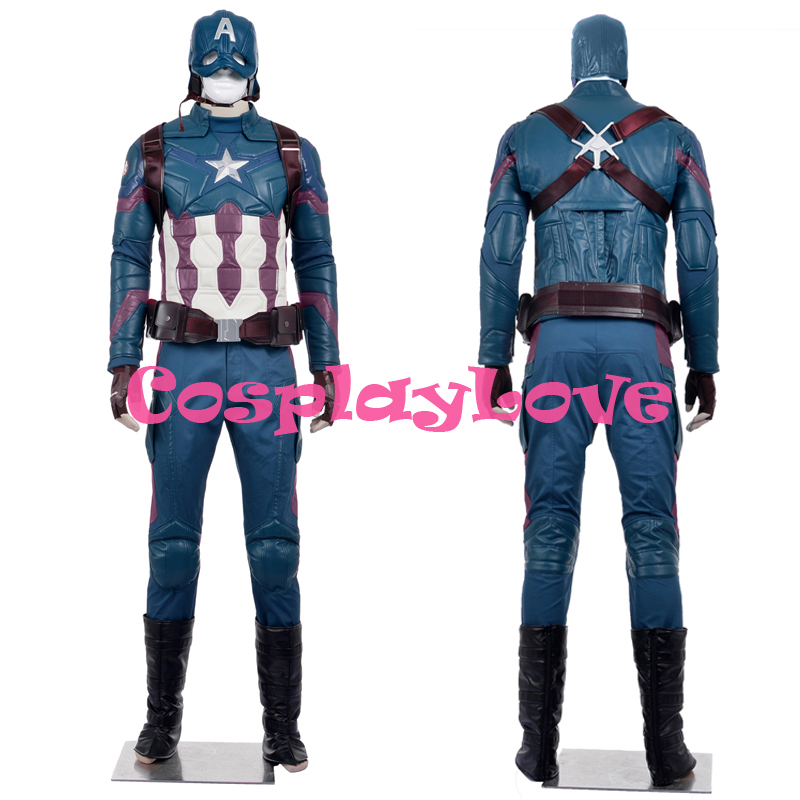 Newest Custom Made American Movie Captain America 3 Civil War Cosplay Costume High Quality Birthday Halloween Christmas