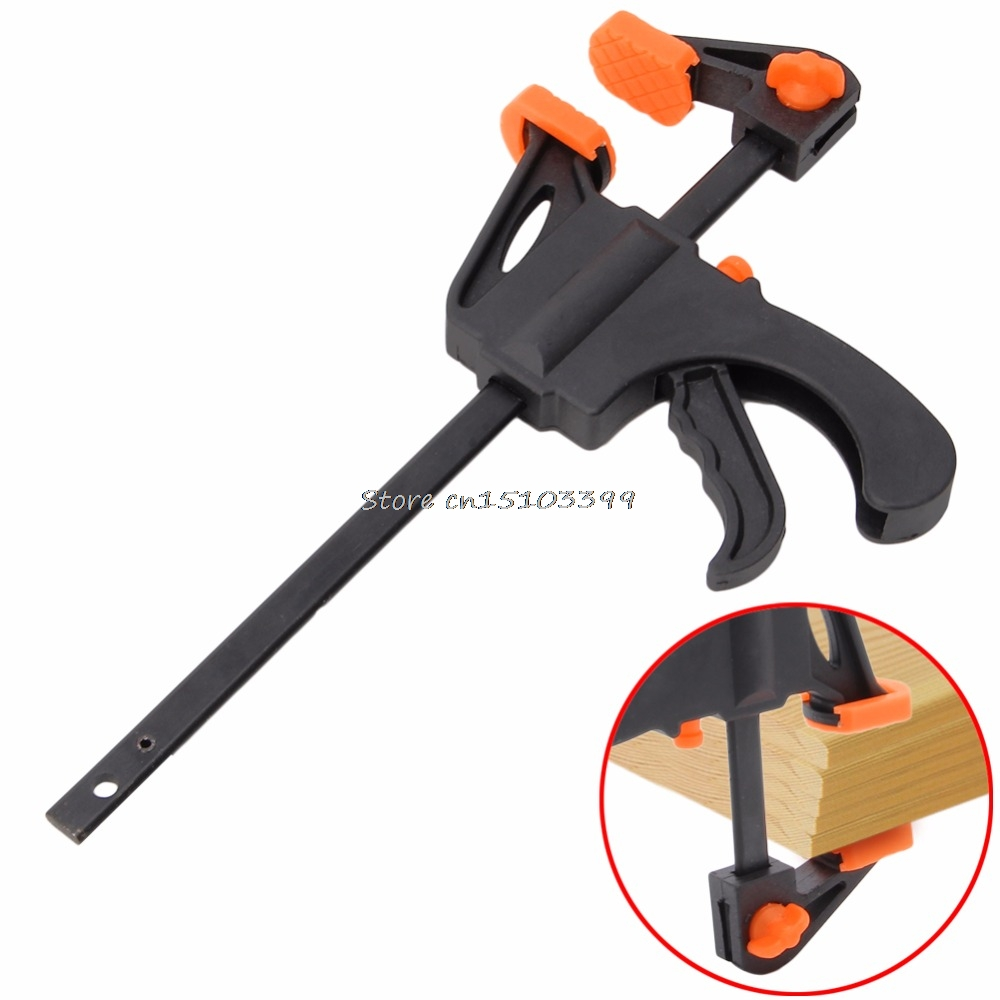 Wood Working Bar F Clamp Grip Quality Ratchet Speed Release Squeeze Hand 4/'/' DIY