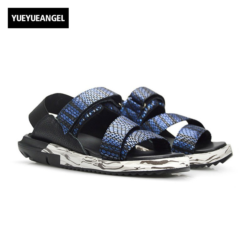 2018 Summer Men Beach Sandals Snake Brand Genuine Leather Thick Platform Big Size Casual Holiday Male Shoes Ankle Strap Slippers mini rmr style 1x red dot sight scope for picatinny rail and glock base mount key switch 6 moa black m6293