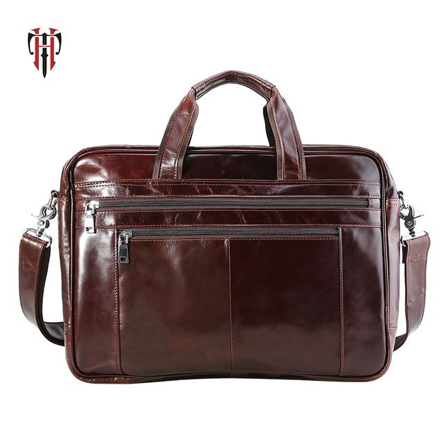 TIANHOO 17inch laptop man bags genuine leather briefcase crossbody  fashionable messenger handle bag for men male 57f67f99d6f7a
