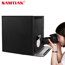 SAMTIAN 40 * 40 cm LED Photo Studio Softbox tiro luz tenda caixa macia + fundos para telefone câmera DSLR jóias Toy