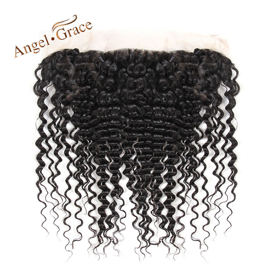 ANGEL GRACE HAIR Peruvian Deep Wave Hair 13x4 Medium Brown Transparent Lace Frontal 100 Remy Human