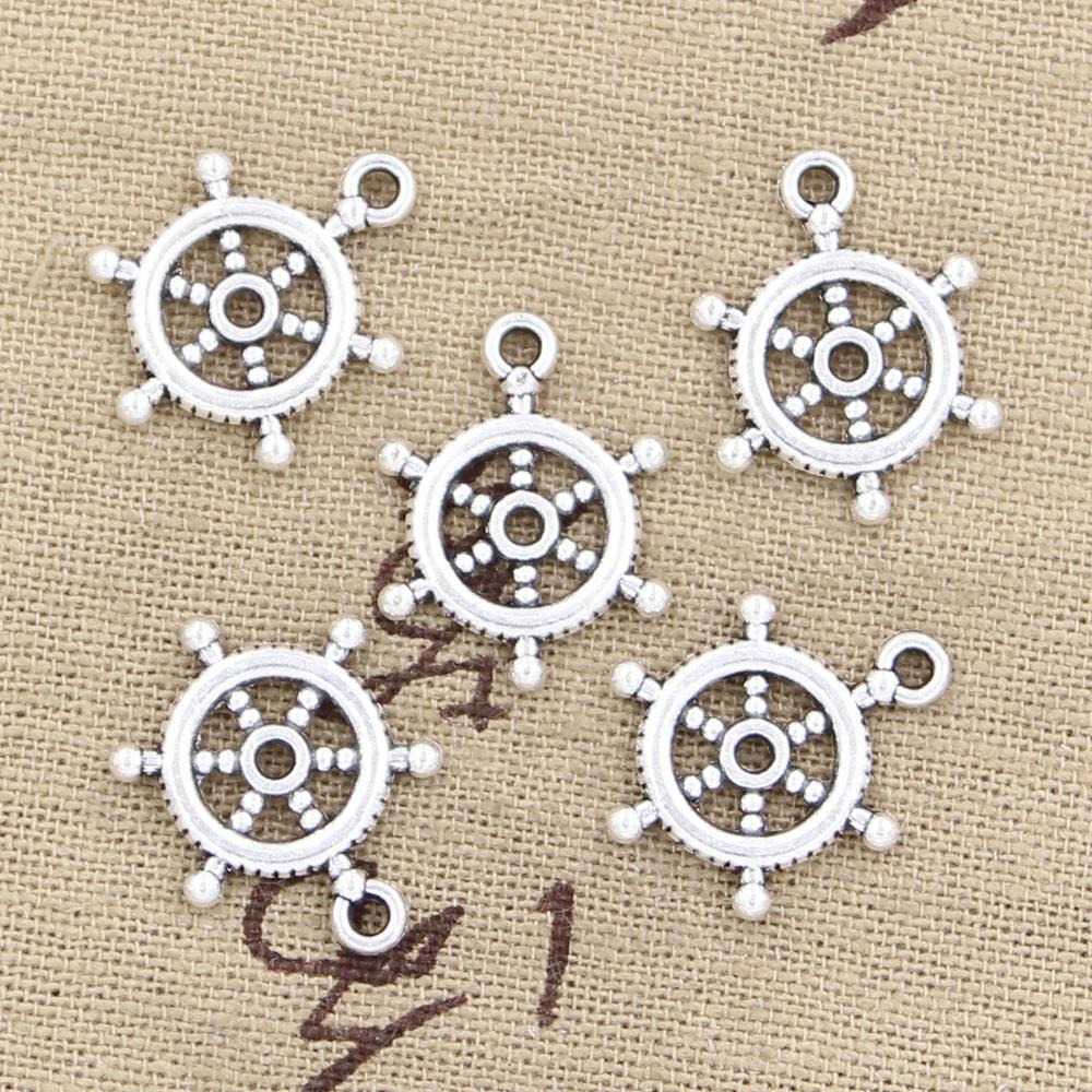 30pcs Charms Ships Wheel Helm Rudder 20x15mm Antique Bronze Silver Color Plated Pendants Making DIY Handmade Tibetan Jewelry